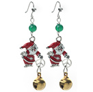 Wholesale 2014 Christmas Design Green Agate and Bell and Santa Claus Charm Earrings