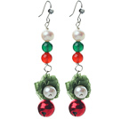 Wholesale 2014 Christmas Design White Pearl and Green Agate and Carnelian and Bell Dangle Earrings