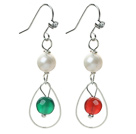 Fashion Style White Freshwater Pearl and Carnelian and Green Agate Dangle Earrings