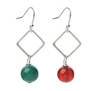 Wholesale Fashion Design Simple Style Green Agate and Carnelian Dangle Earrings