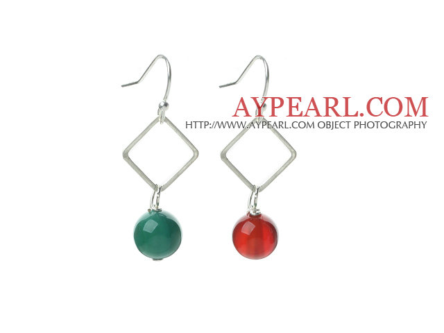 Fashion Design Simple Style Green Agate and Carnelian Dangle Earrings