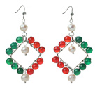 Wholesale New Design White Pearl and Green Agate and Carnelian Rhombus Shape Earrings