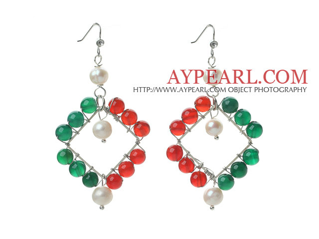 New Design White Pearl and Green Agate and Carnelian Rhombus Shape Earrings