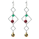 Wholesale Fashion Style Green Agate and Alaqueca and Bell Dangle Earrings