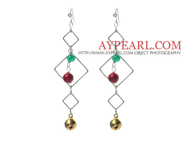 Fashion Style Green Agate and Alaqueca and Bell Dangle Earrings