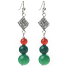 Wholesale 2014 Christmas Design Green Agate and Carnelian Dangle Earrings with Rhinestone Accessories
