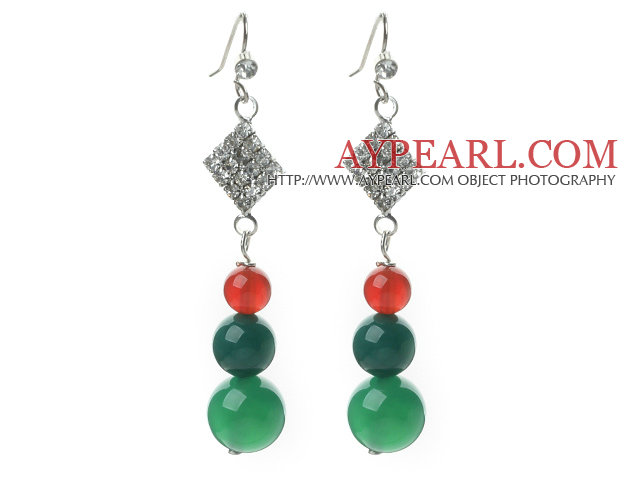 2013 Christmas Design Green Agate and Carnelian Dangle Earrings with Rhinestone Accessories