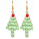 Wholesale 2014 Christmas Design Green Crystal Wire Wrapped Christmas Tree Shape Earrings