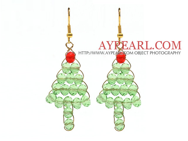 2014 Christmas Design Green Crystal Wire Wrapped Christmas Tree Shape Earrings