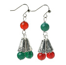 2013 Christmas Design Green Agate and Carnelian Dangle Earrings