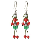 Wholesale 2014 Christmas Design Human-shaped Green Agate and Carnelian Charm Earrings