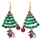 Wholesale 2014 Christmas Design Green Agate and Carnelian and Santa Claus Earrings