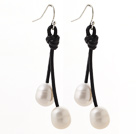 Classic Design 10-11mm White Freshwater Pearl and Black Leather Dangle Earrings