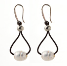Wholesale Simple Style 10-11mm White Freshwater Pearl and Brown Leather Earrings