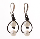 Simple Style 10-11mm White Freshwater Pearl and Brown Leather Earrings