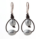 Simple Style 10-11mm Gray Freshwater Pearl and Brown Leather Earrings