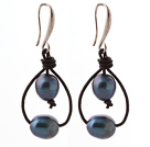 Simple Style 10-11mm Black Freshwater Pearl and Brown Leather Earrings