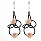 Elegant Style 10-11mm Pink Freshwater Pearl and Black Leather Earrings