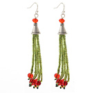 Wholesale 2014 Christmas Design Green Glass Beads and Red Crystal Tassel Dangle Earrings
