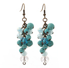 Vintage Style Assorted Turquoise and Clear Crystal Dangle Earrings