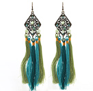 Wholesale New Design Green and Blue Style Pearl Crystal Tassel Dangle Earrings