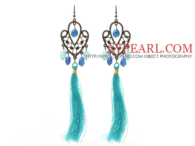 New Design Blue Series 8-9mm Baroque Pearl Tassel Dangle Earrings