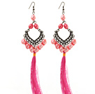 New Design Pink Series 8-9mm Baroque Pearl Tassel Dangle Earrings