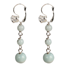 Beautiful Long Style Graduated Amazon Stone Beads Dangle Earrings With Rhinestone Hook