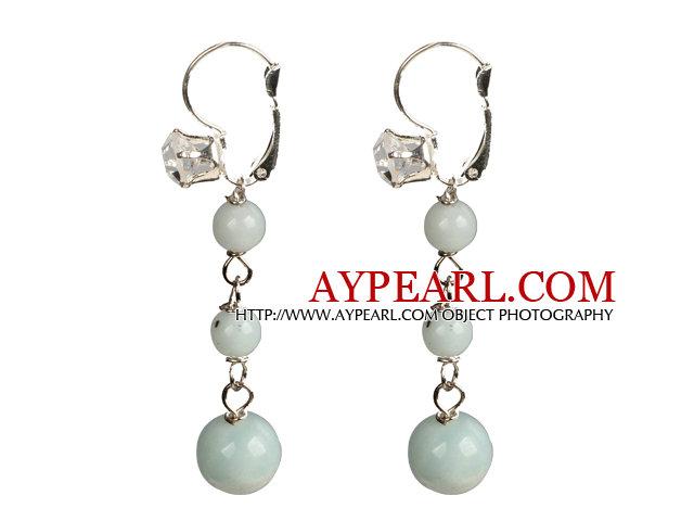 Beautiful Long Style Graduated Amazon Stone Beads Dangle Earrings With Rhinestone Hook