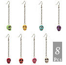 8 Parit Multi värjätty Turkoosi Skull Dangle Korvakorut ( Random väri )