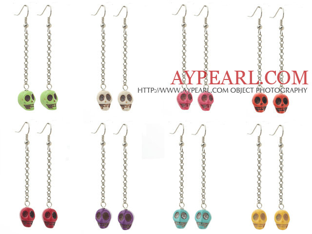 8 Pairs Multi Color Dyed Turquoise Skull Dangle Earrings ( Random Color )