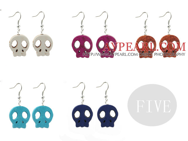 5 Pairs Multi Color Dyed Turquoise Skull Earrings ( Random Color )