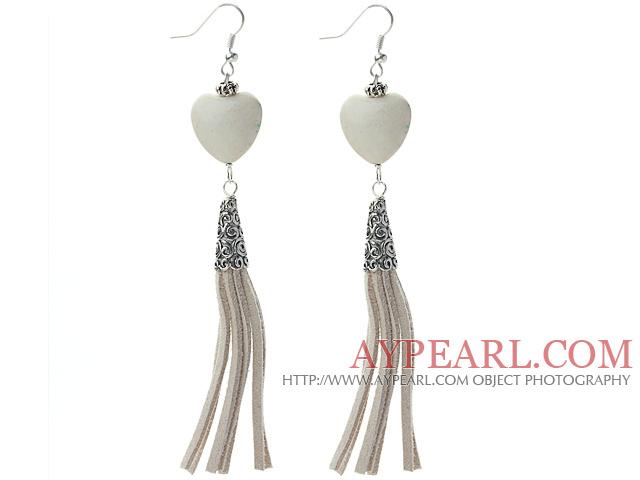 Long Style Heart Shape Howlite Dangle Leather Tassel Earrings with Gray Leather Tassel