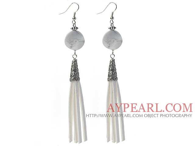 Long Style Round Shape Whirling Howlite Dangle Leather Tassel Earrings with White Leather Tassel