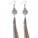 Long Style Round Shape Whirling Howlite Dangle Leather Tassel Earrings with Gray Leather Tassel