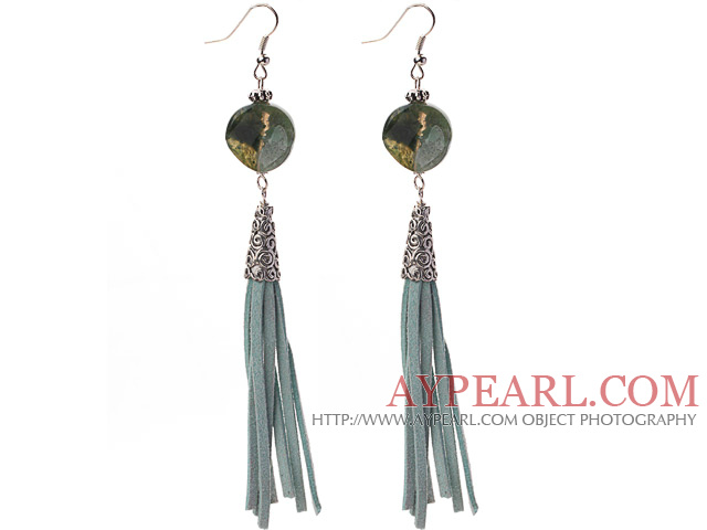 Long Style Round Shape Whirling Indian Agate Dangle Leather Tassel Earrings with Leather Tassel