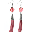 Long Style Flat Round Shape Cherry Quartz Dangle Leather Tassel Earrings with Pink Leather Tassel