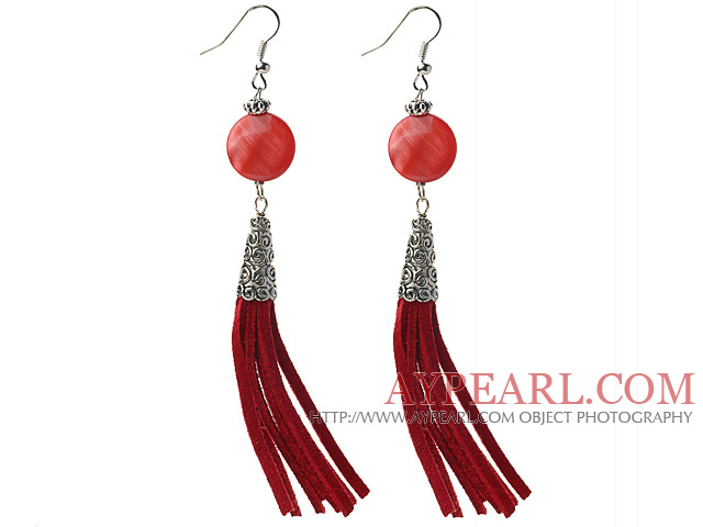 Long Style Flat Round Shape Red Shell Dangle Leather Tassel Earrings with Red Leather Tassel