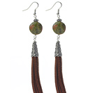 Wholesale Long Style Flat Round Shape Unakite Dangle Leather Tassel Earrings with Brown Leather Tassel