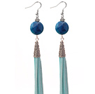 Long Style Flat Round Shape Faceted Blue Agate Dangle Leather Tassel Earrings with Blue Leather Tassel