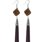 Long Style Rhombus Shape Tiger Eye Dangle Leather Tassel Earrings with Dark Brown Leather Tassel