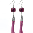 Long Style Square Shape Purple Agate Dangle Leather Tassel Earrings with Purple Leather Tassel