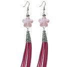 Long Style Star Shape Rose Quartz Dangle Leather Tassel Earrings with Pink Leather Tassel