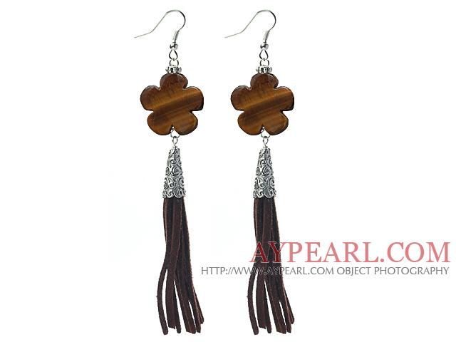 Long Style Flower Shape Tiger Eye Dangle Leather Tassel Earrings with Brown Leather Tassel