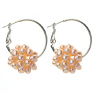 Fashion Style 3-4mm Pink Freshwater Pearl Big Loop Earrings