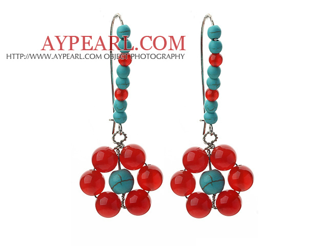 Fashion Style Assorted Carnelian and Green Turquoise Flower Shape Earrings