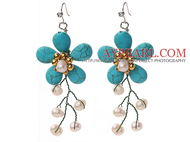 New Design Teardrop Shape Turquoise and White Freshwater Pearl Flower Crocheted Earrings