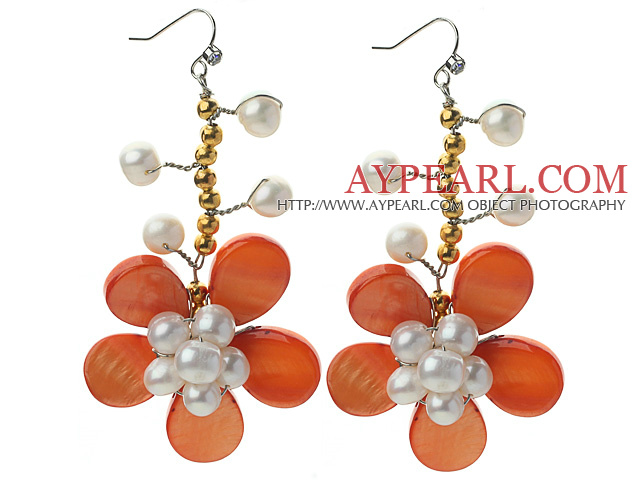 White Freshwater Pearl and Golden Color Metal Beads and Orange Shell Flower Crocheted Earrings