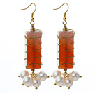 Wire Wrapped Rectangle Shape Carnelian and White Freshwater Pearl Earrings