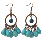 Wholesale Vintage Style Teardrop Shape Turquoise and Phoenix Stone Earrings